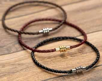Men wrap leather and stainless steel bracelet,mens leather bracelet,woven leather bracelet,black man leather bracelet, gay boyfriend gift