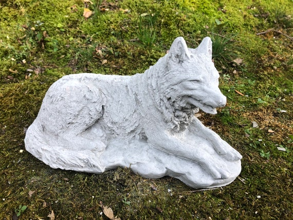Concrete Wolf Statue Cement Wolf Garden Decor Laying Wolf Etsy