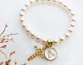 Baptism Initial Bracelet | 1st communion gift for Girls | Baby Girl Personalized Christening Bracelet | Swarovski Pearls Cross Unique Gift