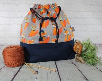 Foxes Knitting Project Bags, XL, Large, Medium, Small Drawstring project Bag, Crochet project Bags, Sweater, Shawl, Scarf, Sock Craft Bag