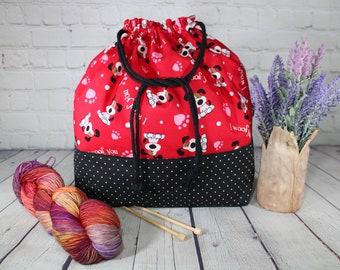 Dogs Knitting Project Bags, XL, Large, Medium, Small Drawstring project Bag, Crochet project Bags, Sweater, Shawl, Scarf, Sock Craft Bag