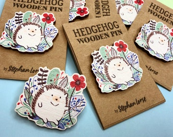 Hedgehog and Flowers - Wooden Pin