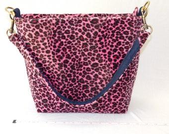 f301fa025d64 medium purse, leopard print handbag, faux fur shoulder bag, pink tote bag,  antique brass hardware bag, tote with pockets, zipper carryall