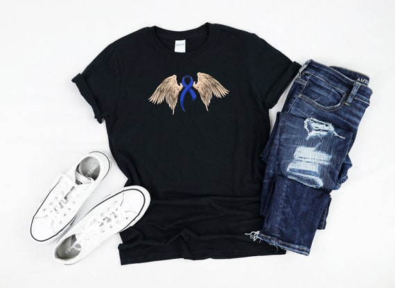 Colon Cancer Angel Wings Colon Cancer Awareness Shirt Etsy