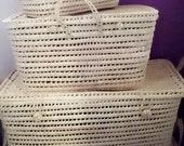 Storage trunk, suitcase, toy box, suitcase, palm leaf trunk, rattan, craft chest, Moroccan handicrafts, baskets