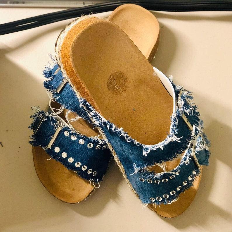 Denim and Rhinestone Embellished Sandals