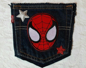Spider-Man Little Boys Denim Black Logo Patch Jeans