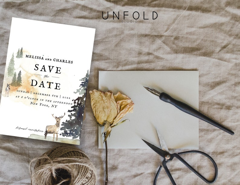 Instant Download Save the Date Card Personalized Printable templates Save the Date template Winter Forest Save the Date Card