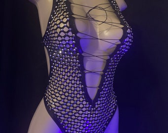 Stripper Outfits Attitude Behavior Clothing Net Bodysuit Exotic Dancewear Jada Bodysuit