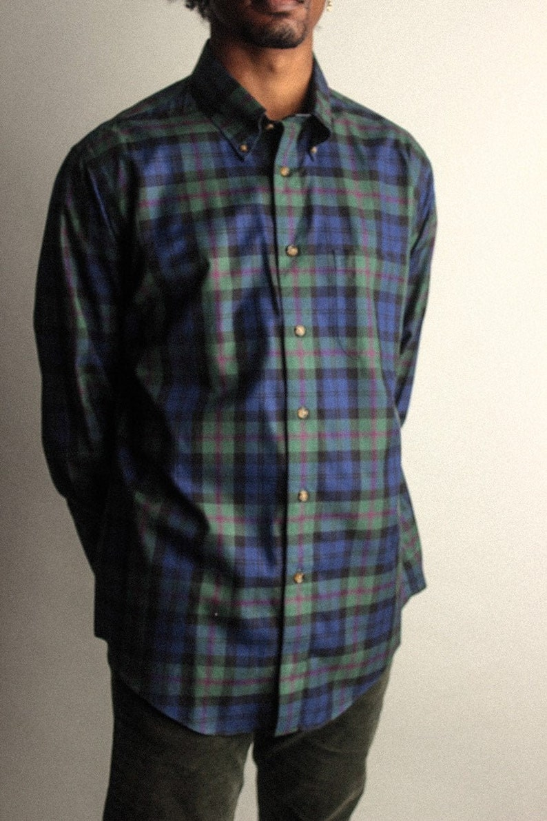 Green and Blue Men/'s Plaid Long Sleeve Vintage Button Up Size Large with Pocket