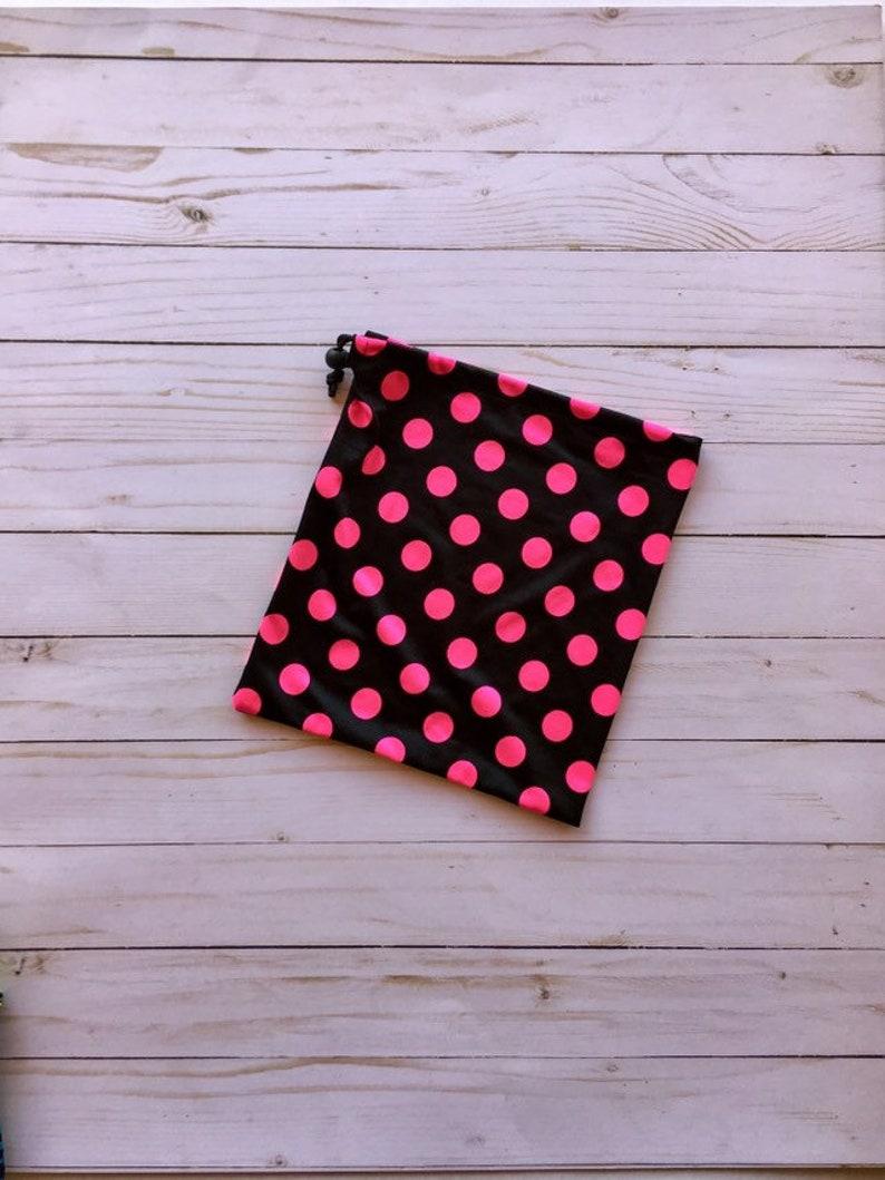 09f0e1c04c41 Gymnastics Grip Bag Nylon Spandex Black with Hot Pink Polka | Etsy