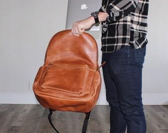 Personalised Rolltop Backpack in Grey Monogram Rucksack Groomsmen Gift Gift for him Custom Backpack Fashion Backpack