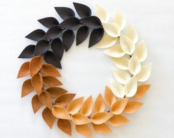 "Fall Wreath for Front Door / Brown Felt Leaf Minimalist Wreath / Essence Magazine Feature / Neutral Brown - 12""- 16"" - 20"""