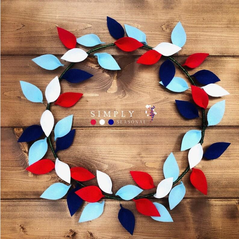 Patriotic Felt Wreath  Red, White and Blue - 16/18 Inches  Patriotic Decor