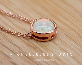 Double Cercle White Fire Opal Silver Jewelry Collier Pendentif