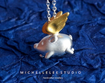Flying Pig Necklace,Sterling Silver Lucky Flying Pig with Gold Wing Pendant Necklace, When Pigs Fly, Pig Charm