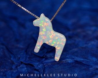 Opal Necklace, Fire Opal Dala Horse Scandinavian Pendent Necklace in Sterling Silver, White Opal Necklace, Dala Horse Necklace