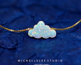 Cloud Opal Necklace, Fire Opal necklace, White Opal Necklace, Opal Cloud Necklace with Sterling Silver Chain, Opal Jewelry