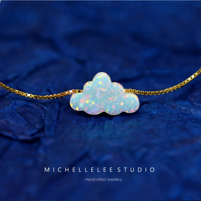 Fire Opal necklace White Opal Necklace Opal Jewelry Cloud Opal Necklace Opal Cloud Necklace with Sterling Silver Chain