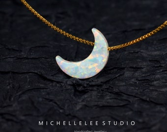 Opal Necklace, Fire Opal Crescent Moon Pendant Necklace in Sterling Silver, White and Blue Opal Necklace, Moon Necklace