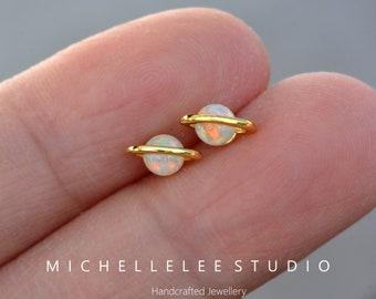 White Fire Opal Planet Stud Earrings, Saturn Earrings, 18K Gold Plated Fire Opal Bead Stud, Minimalist Geometric