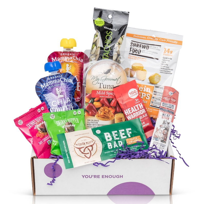 care package with assorted healthy food and snacks
