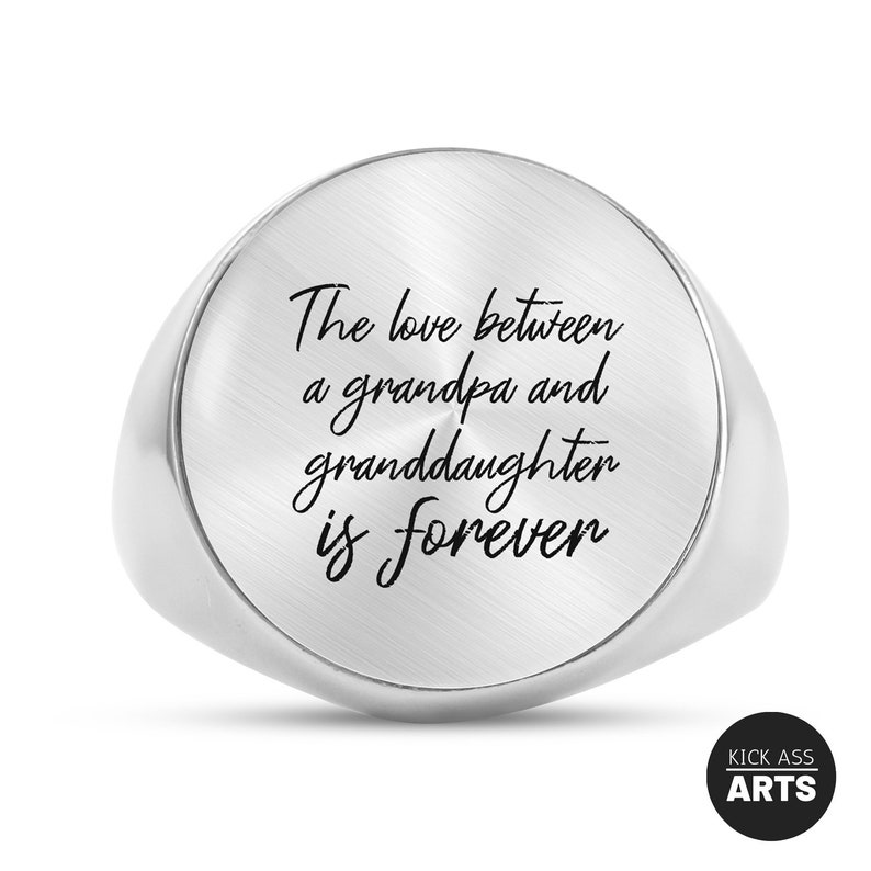 Grandfather Gift From Kids Grandpa Fathers Day Gift From Granddaughter Signet Ring Gift For Grandpa