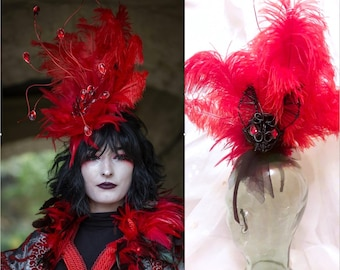 Red GOTH Vampire Queen HALLOWEEN Feather Fascinator Festival Headband headpiece Hat Costume Hair accessories blood cosplay jewellery witch