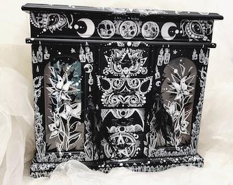 Custom GOTH gothic Black Wooden Pet Portrait Storage BOX Decorative make up jewelry spooky HALLOWEEN  witch crystal pentagram home decor