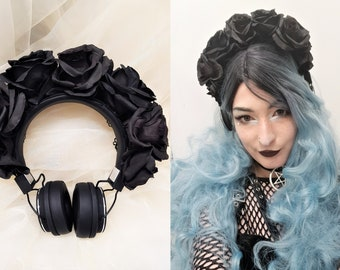 Pastel GOTH gothic Black Rose Headphones Flower Headband headpiece festival Costume Cosplay Hair accessories jewellery witch crown earphones