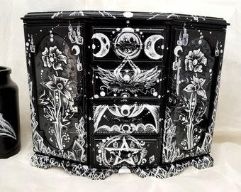 Custom GOTH gothic Black Wooden Plastic Storage BOX Decorative make up jewelry spooky HALLOWEEN  witch crystal pentagram home decor interior