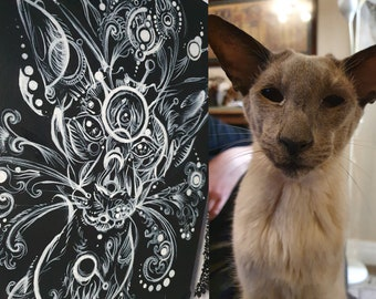 Custom GOTH PET PORTRAIT hanging gothic Black Canvas panel Hand painted Decorative home decor spooky gift Halloween witch interior birthday
