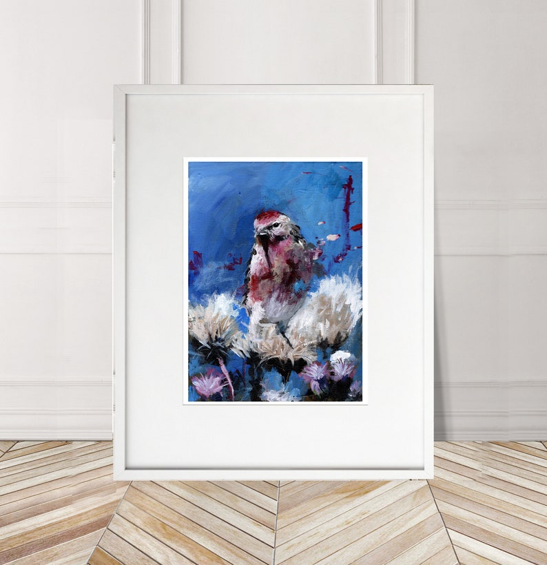 Redpoll Finch Numbered limited edition Giclee Print of a Watercolour Painting by Myles Laurence Art