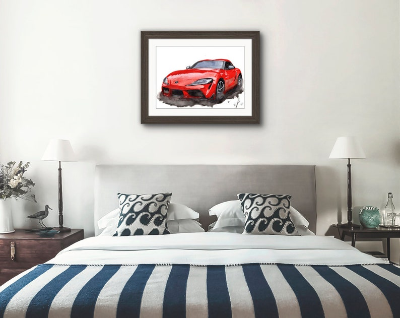 Painting of a Toyota Supra Car   Limited Print By Myles Laurence Art