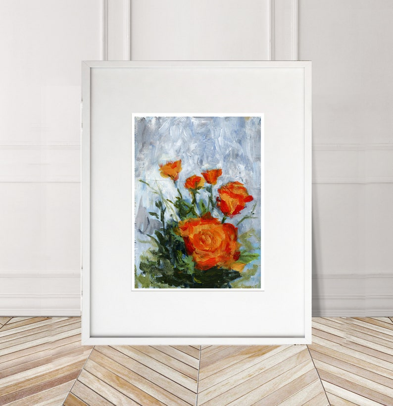 Orange flowers Numbered limited edition Giclee Print of an acrylic Painting by Myles Laurence Art