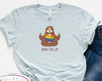 4dfc97441 Gay Pride Sloth Yoga T-Shirt, Namaste Funny Custom Design Cotton T-Shirt