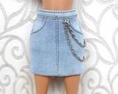 Barbie denim skirt.Denim skirt.Clothes For Barbie.Skirt for dolls.Barbie Skirt. Barbie. Denim clothing for the Barbie doll.denim