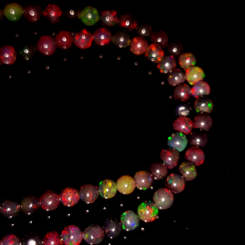 NATURAL ETHIOPIAN OPAL Beaded Necklace 44Ct High Quality Electric Fire Black Ethiopian Opal 1Line Strand Ball Beads Necklace Gemstone5x53x3