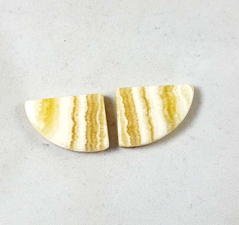CRAZY LACE AGATE 37.75 Natural Yellow Lace Agate Gemstone Perfect Pair Earring Jewelry Making Smooth Cabochon Fancy Shape 22.50x17x5MM