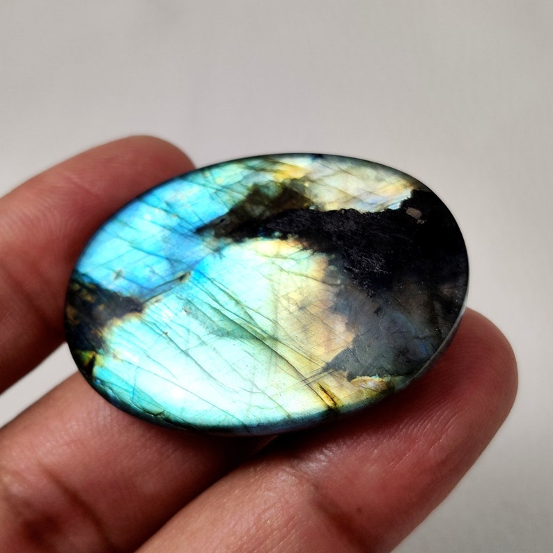 Natural Blue Labradorite Gemstone Oval Shape 85 Ct AAA Top Quality Labradorite Smooth Cabochon Perfect Pendant Size Loose Gemstone 41X30X8MM