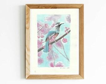 Art Print Bird Nursery Little Minimalist Gouache Artsy Poster Home Decor Wall Artworks