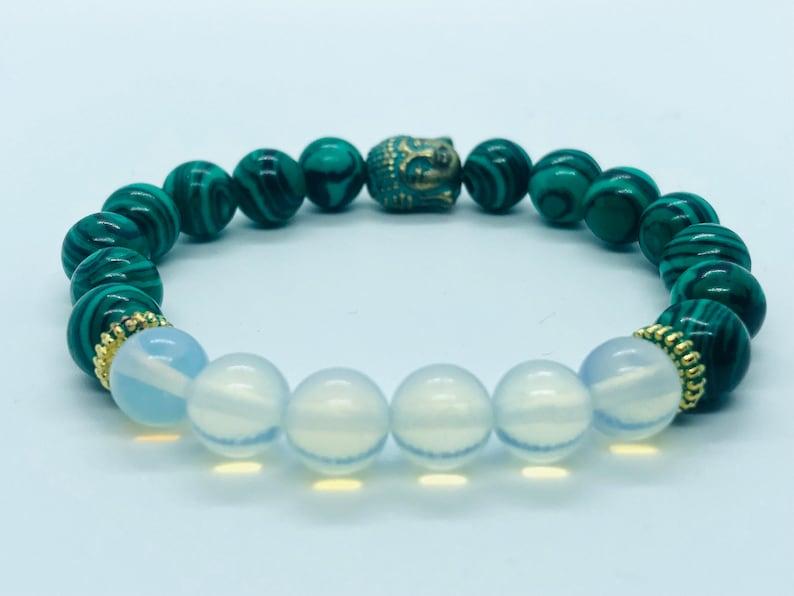 beaded bracelets gift bracelet with Budha charm 8mm gemstone bracelet Malachite with Opal combination best selling item
