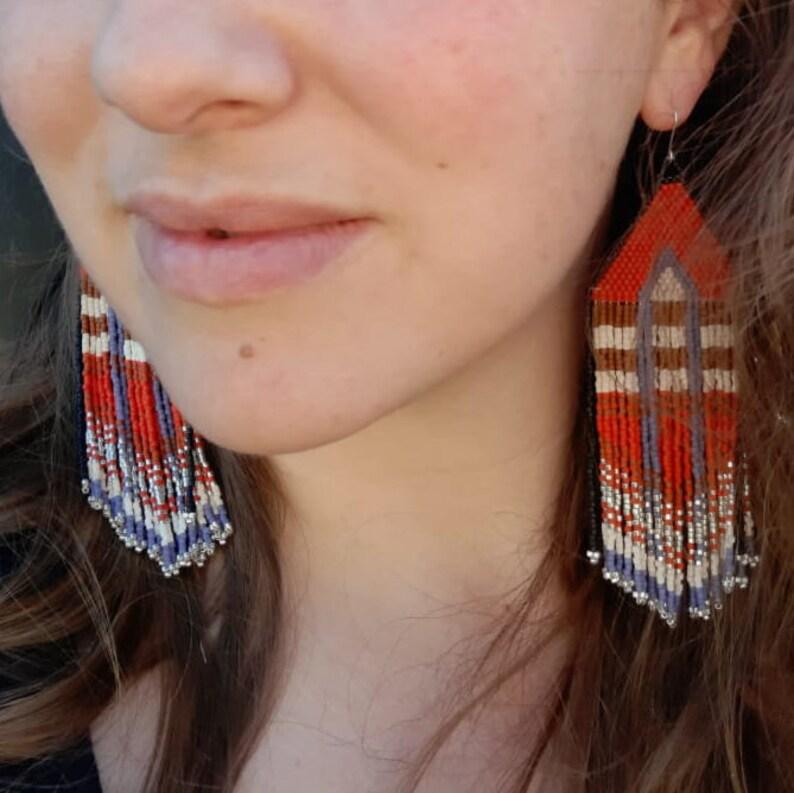 Hand Beaded Retro India Extravagant Fringe Earrings /'Boho Chic/'