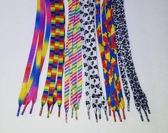 Glitter Flat Shoelaces! Rainbow, Paw, Camouflage, Cheetah - 45 Inch Sneaker shoe strings