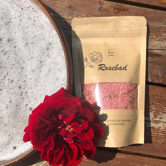 ROSEBAD-strø med rose og bobler