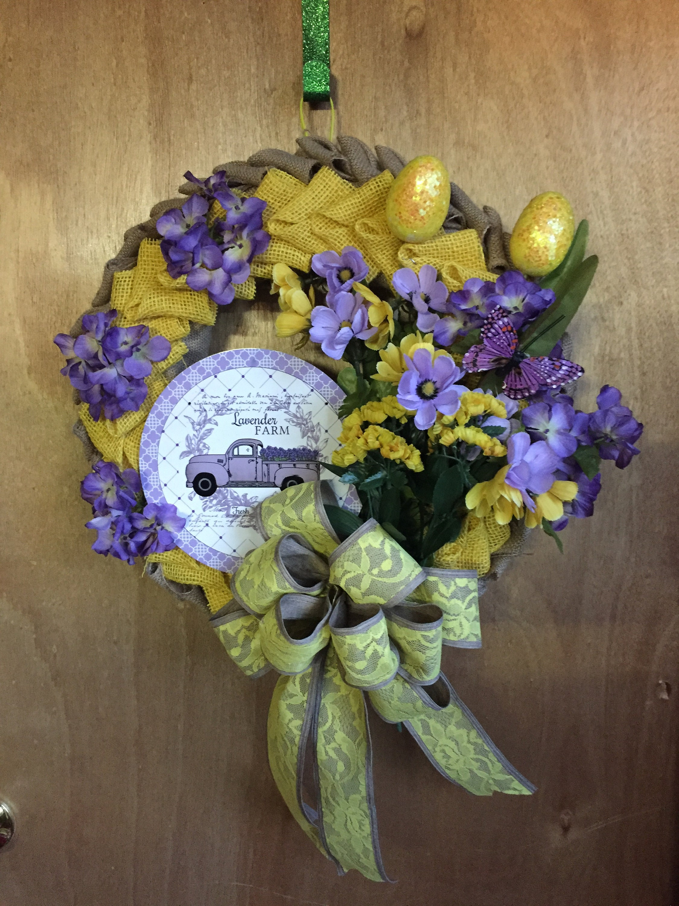 Lavender Truck Spring Wreath with Glittery Eggs and Butterflies