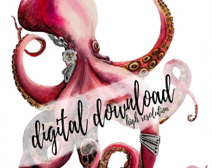 Featured listing image: digital download Octopus Steampunk handpainted high resolution PNG sublimation squid octopus kraken printable