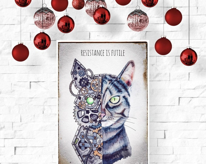 Featured listing image: Cat Steampunk Watercolor Art Print