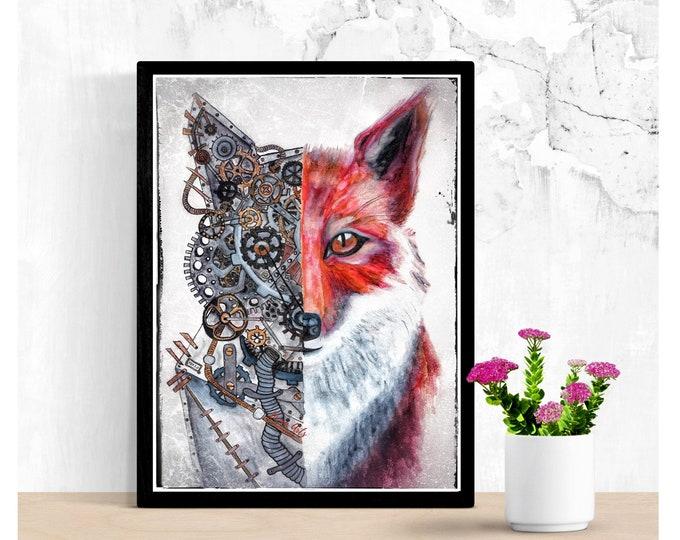 Featured listing image: Fox watercolor steampunk art print brushpen postcard poster watercolour unique style Artprint