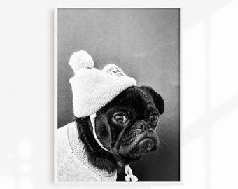 922b16b34f3 Hipster Pug Print No.2  Printable Dog Art  Digital  Animal Photography   Beanie  Pug Grey Sweater  Modern Wall Decor  Cute Dog  Monochrome